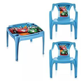 Mesa Mesinha Infantil Com 2 Cadeiras Carros Menino Azul