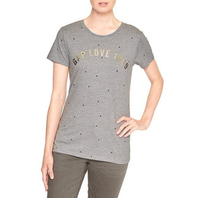 Remeras Gap Mujer Estampada Gris Originales Usa