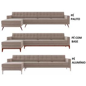Sofá Living Chaise Pe Com Base De Madeira Palito Aluminio 4