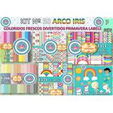1 Kit Imprimible X 7 Arco Iris Forro Cajas Cuaderno Jardin