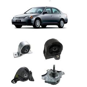Kit 4 Coxim Motor Cambio Honda Civic 1.7 16v 2001 A 2005