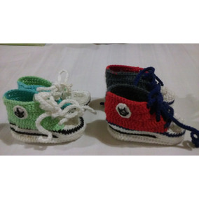 Zapatos Tejidos Crochet Bebés Escarpines Modelo Converse