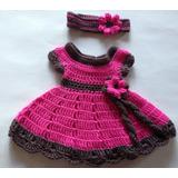 Vestido Hermosos Tejida Al Crochet De 0 A 1 Años