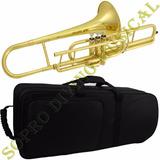 Trombone Pisto Curto Sib Estojo Bocal Oleo Frete Gratis
