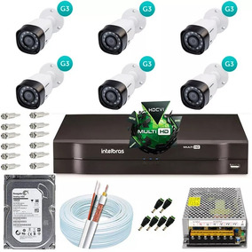 Kit Cftv 6 Câmeras Multi Hd 720p Dvr 8 Canais Intelbras 1008