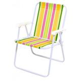 Cadeira De Praia Mor Alta Dobrável Vários Modelos