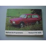 Manual Proprietario Volkswagen Variant Frente Baixa 71 72
