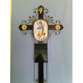 Cruz Metálica Para Panteón 1.50 Mts. Nicho Con Litografía