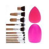 11 Pcs Pincel Kabuki + Brush Egg + Beauty Blender