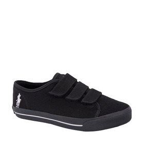 Tenis Casuales 3 Broches Dama Hpc Polo Negro Textil Xr199