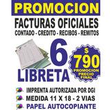 6 Libretas De Facturas $ 790 Boletas Oficiales - Imprenta