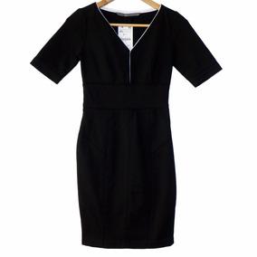 Vestido Zara Ajustado Negro Con Ribetes Blancos (nuevo) #roa