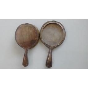 Antiguo Cepillo Y Espejo Juego Toilette Baño Plata