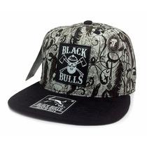 Boné Aba Reta Snapback Black Bulls Original Desenho A-73
