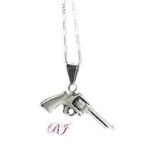 Dije Revolver Plata 925 Pistola Detallada A Mano Con Cadena