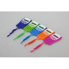 Kit 10 Calculadora De Bolso 8 Digitos C/ Cordão Varias Cores