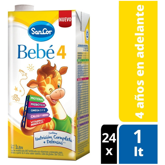 Sancor Bebe 4 Leche Líquida Nutricion Completa 1lt X 24un.