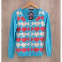 Casaquinho Cardigan Biamar Malha Tricot Modal Coração - Azul