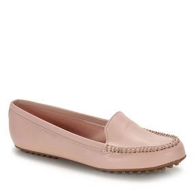 Sapato Bico Redondo Mocassim Moleca - Rosa
