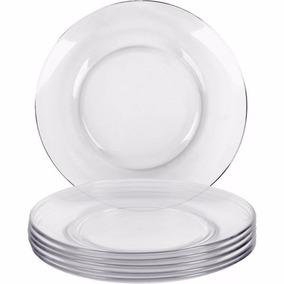 Jogo Com 6 Pratos De Vidro Transparente Raso..