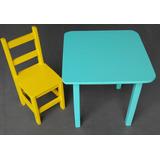 Mesa Infantil De Madeira Color Com 2 Cadeiras Pint Laca Puff