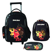 Kit Mochila Angry Birds C/ Carrinho Lancheira Estojo #702201