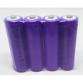 4x Pila Bateria Recargable Aa De 3000mha Morada La Mejor