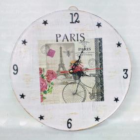Reloj De Pared En Lamina Vintage /decoupage