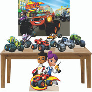 Blaze And Machines Kit Festa Totens Display Painel 100x70