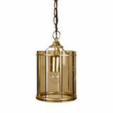 Lámpara De Colgar Bronce Y Cristal Vintage