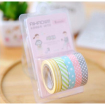 Fita Washi Tape 5 Cores Comprar Decorativa Estampas Papel