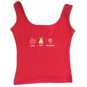 Camiseta Vermelha Regata Frutas Tamanho 6