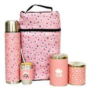 Equipo De Mate Madera Aluminio Mochila Matera Floral Pink