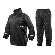 Capa Chuva Pb Moto Nylon Blusa Calça Impermeável Preta