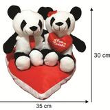 Urso Panda Pelúcia Com Frase E Coração - Promoção