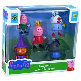Conjunto De Bonecos Peppa Pig Dtc - 5 Personagens