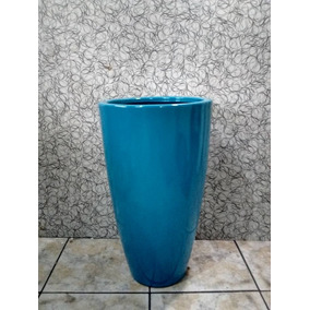 Vaso Cachepot Decorativo Estilo Ceramica Vietnamita / Fibra