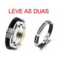 Bracelete Pulseira Masculina Ouro + Silicone Leve As Duas