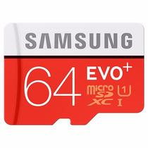 Cartão Micro Sd Sdxc Samsung Evo+ 64gb Class 10 80mb/s Uhs-1