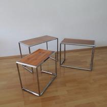 Juego Mesas Auxiliares Nido Vintage Estilo Bauhaus Años 50s