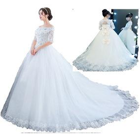 Vestido De Noiva Princesa Manga Curta + Vestido Para Daminha