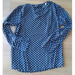 Blusa Chifon Azul Com Bolinhas