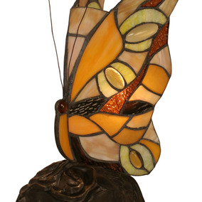 Lampara De Mesa Tiffany Butterfly With Dark Granite Base, Me