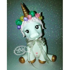Adorno De Torta O Decoración De Unicornio En Porcelana Fria