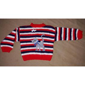 Sweater Pullover Lana Bebé Tejido A Mano Nuevo