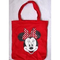 Bolsa Sacola Minie Minnie Mouse Laço Vermelho Forrada Ziper