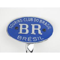 Brasão Emblema Br Touring Fusca Para Choque Reto Azul 71