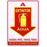 Kit 5 Unidades Placas Sinalizacao Aviso Seta Extintor Agua A