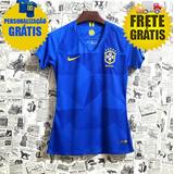 Camisa Feminina Seleção Brasil Copa 2018 Personalize Grátis