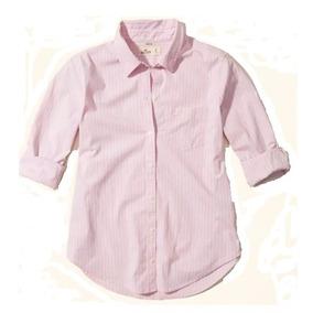 Hollister Camisa Dama Stretch Rosita Con Rayas Gris